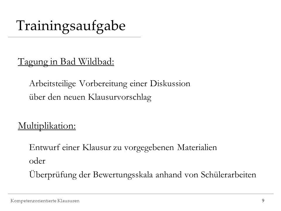 Kompetenzorientierte Klausuren9 Trainingsaufgabe Tagung in Bad Wildbad: Arbeitsteilige Vorbereitung einer Diskussion über den neuen Klausurvorschlag M