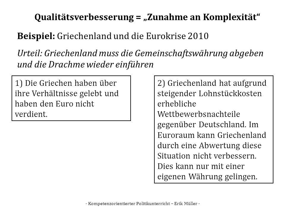 - Kompetenzorientierter Politikunterricht – Erik Müller - Qualitätsverbesserung = Zunahme an Komplexität Beispiel: Griechenland und die Eurokrise 2010