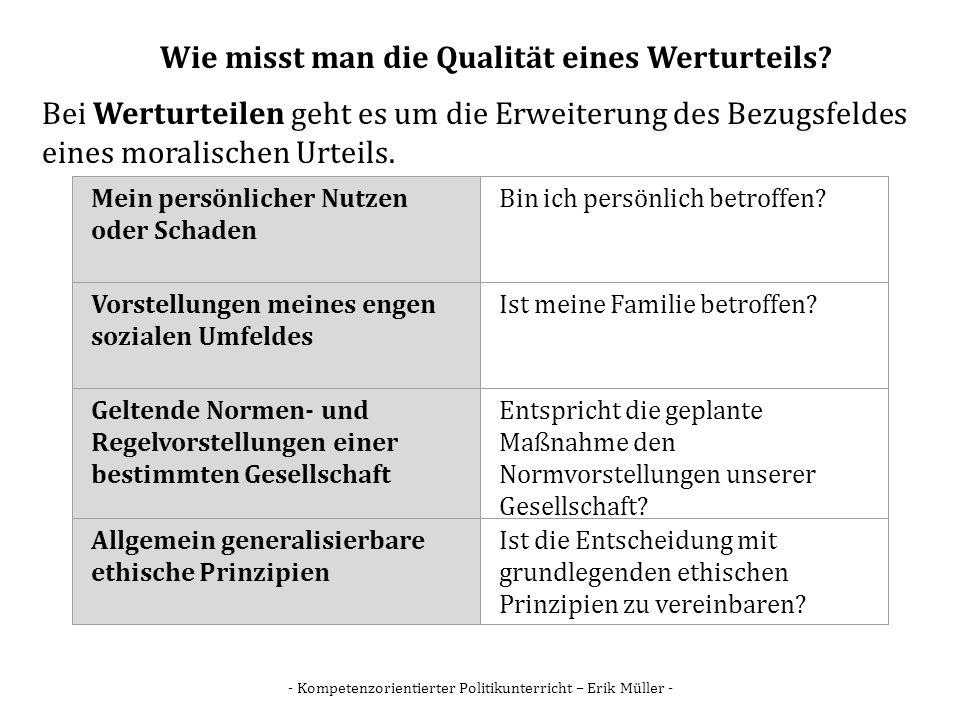 - Kompetenzorientierter Politikunterricht – Erik Müller - Wie misst man die Qualität eines Werturteils? Bei Werturteilen geht es um die Erweiterung de