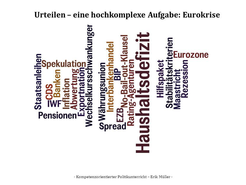 - Kompetenzorientierter Politikunterricht – Erik Müller - Urteilen – eine hochkomplexe Aufgabe: Eurokrise