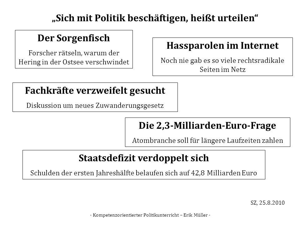 - Kompetenzorientierter Politikunterricht – Erik Müller - Sich mit Politik beschäftigen, heißt urteilen Der Sorgenfisch Forscher rätseln, warum der He