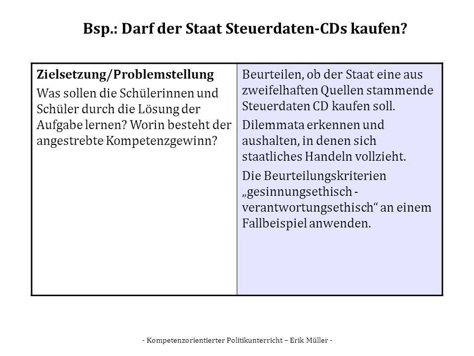 - Kompetenzorientierter Politikunterricht – Erik Müller - Bsp.: Darf der Staat Steuerdaten-CDs kaufen? Zielsetzung/Problemstellung Was sollen die Schü