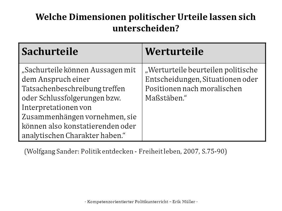 - Kompetenzorientierter Politikunterricht – Erik Müller - Welche Dimensionen politischer Urteile lassen sich unterscheiden? SachurteileWerturteile Sac