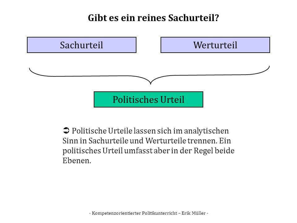 - Kompetenzorientierter Politikunterricht – Erik Müller - Gibt es ein reines Sachurteil? SachurteilWerturteil Politisches Urteil Politische Urteile la