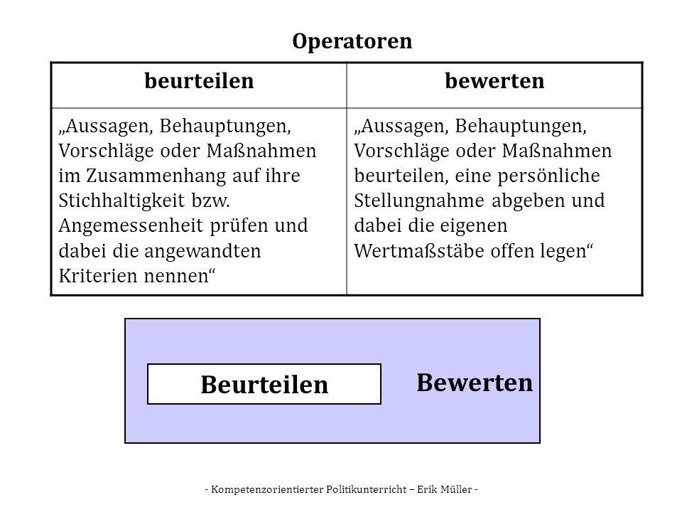 - Kompetenzorientierter Politikunterricht – Erik Müller - Operatoren beurteilenbewerten Aussagen, Behauptungen, Vorschläge oder Maßnahmen im Zusammenh