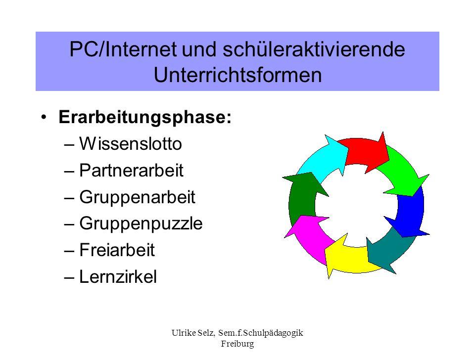 Ulrike Selz, Sem.f.Schulpädagogik Freiburg PC/Internet und schüleraktivierende Unterrichtsformen Erarbeitungsphase: –Wissenslotto –Partnerarbeit –Grup