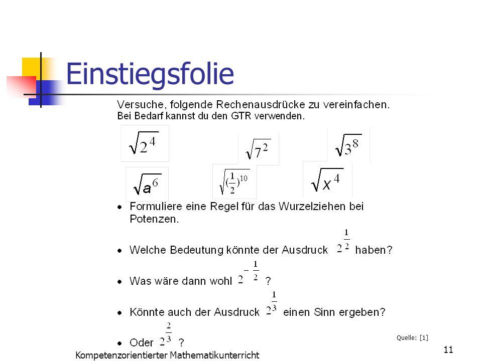 Einstiegsfolie 11 Kompetenzorientierter Mathematikunterricht Quelle: [1]