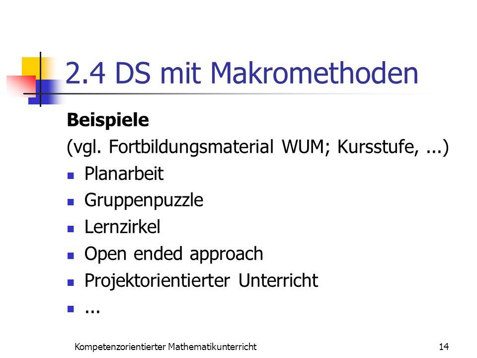 2.4 DS mit Makromethoden Beispiele (vgl. Fortbildungsmaterial WUM; Kursstufe,...) Planarbeit Gruppenpuzzle Lernzirkel Open ended approach Projektorien