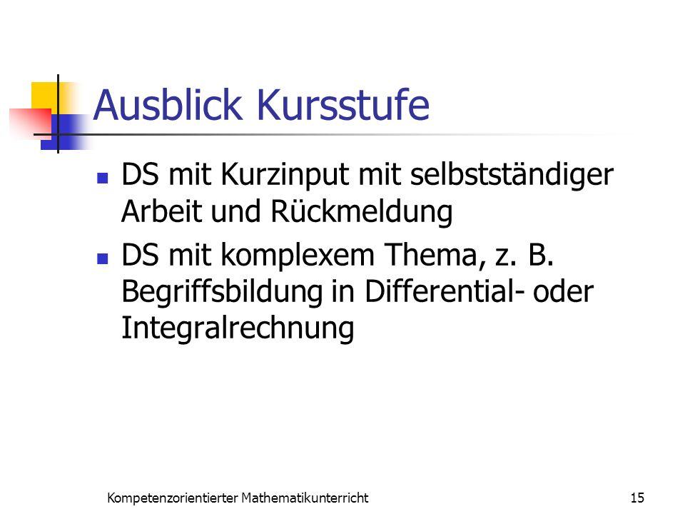 Ausblick Kursstufe DS mit Kurzinput mit selbstständiger Arbeit und Rückmeldung DS mit komplexem Thema, z. B. Begriffsbildung in Differential- oder Int