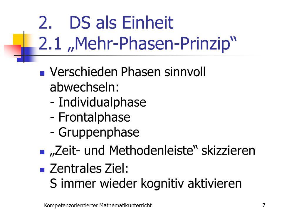2. DS als Einheit 2.1 Mehr-Phasen-Prinzip Verschieden Phasen sinnvoll abwechseln: - Individualphase - Frontalphase - Gruppenphase Zeit- und Methodenle
