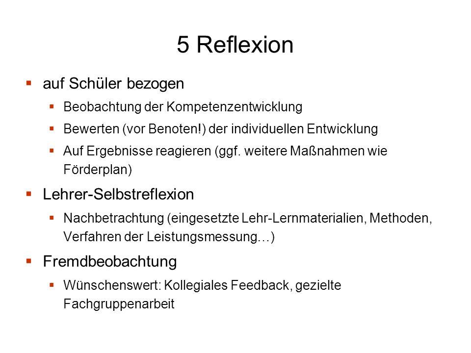 5 Reflexion auf Schüler bezogen Beobachtung der Kompetenzentwicklung Bewerten (vor Benoten!) der individuellen Entwicklung Auf Ergebnisse reagieren (ggf.