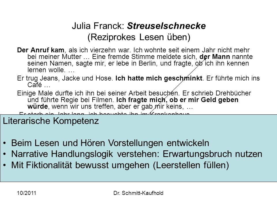 10/2011Dr. Schmitt-Kaufhold Julia Franck: Streuselschnecke (Reziprokes Lesen üben) Der Anruf kam, als ich vierzehn war. Ich wohnte seit einem Jahr nic