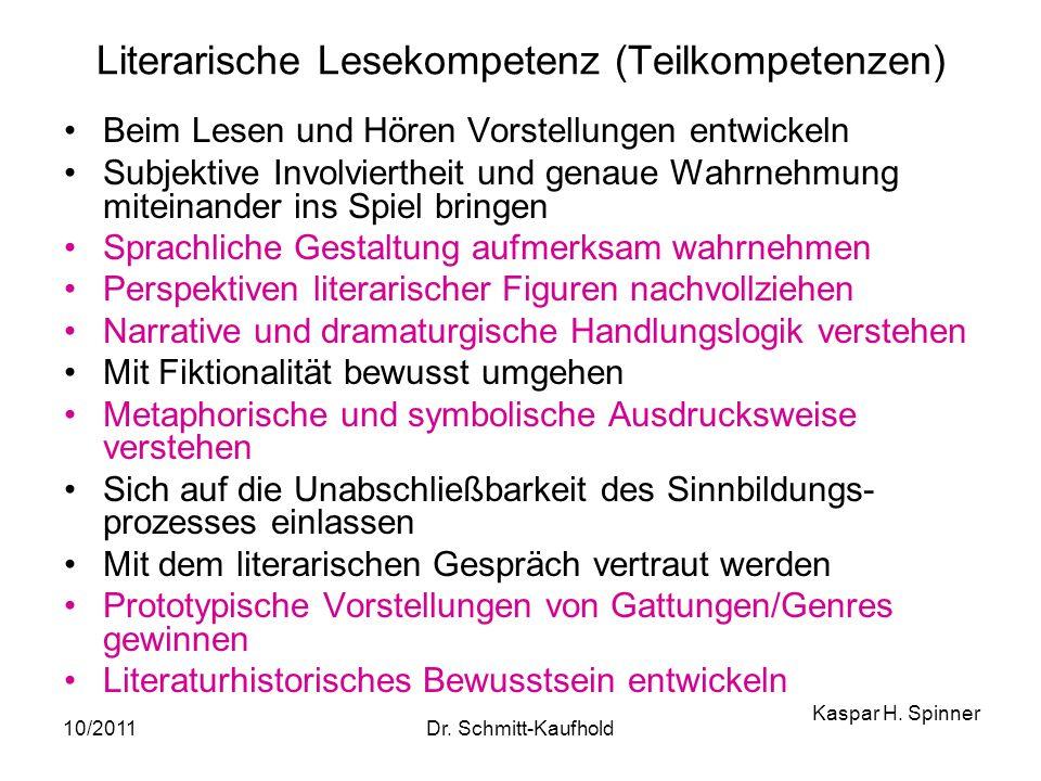 10/2011Dr. Schmitt-Kaufhold Literarische Lesekompetenz (Teilkompetenzen) Beim Lesen und Hören Vorstellungen entwickeln Subjektive Involviertheit und g