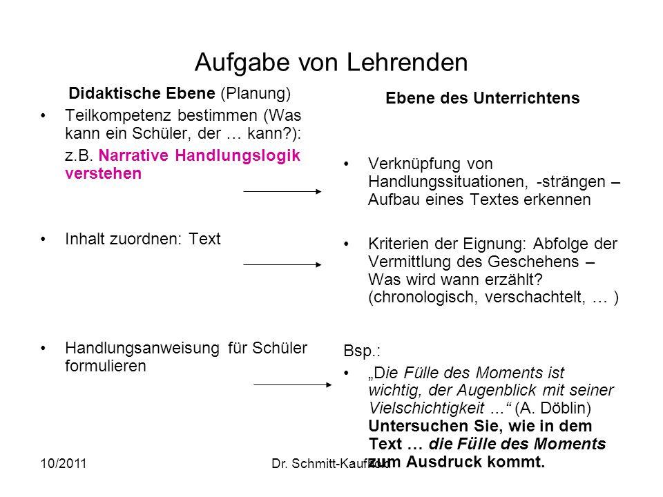 10/2011Dr. Schmitt-Kaufhold Aufgabe von Lehrenden Didaktische Ebene (Planung) Teilkompetenz bestimmen (Was kann ein Schüler, der … kann?): z.B. Narrat