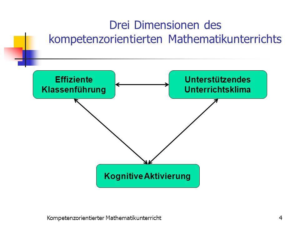 Drei Dimensionen des kompetenzorientierten Mathematikunterrichts Effiziente Klassenführung Unterstützendes Unterrichtsklima Kognitive Aktivierung 4Kom