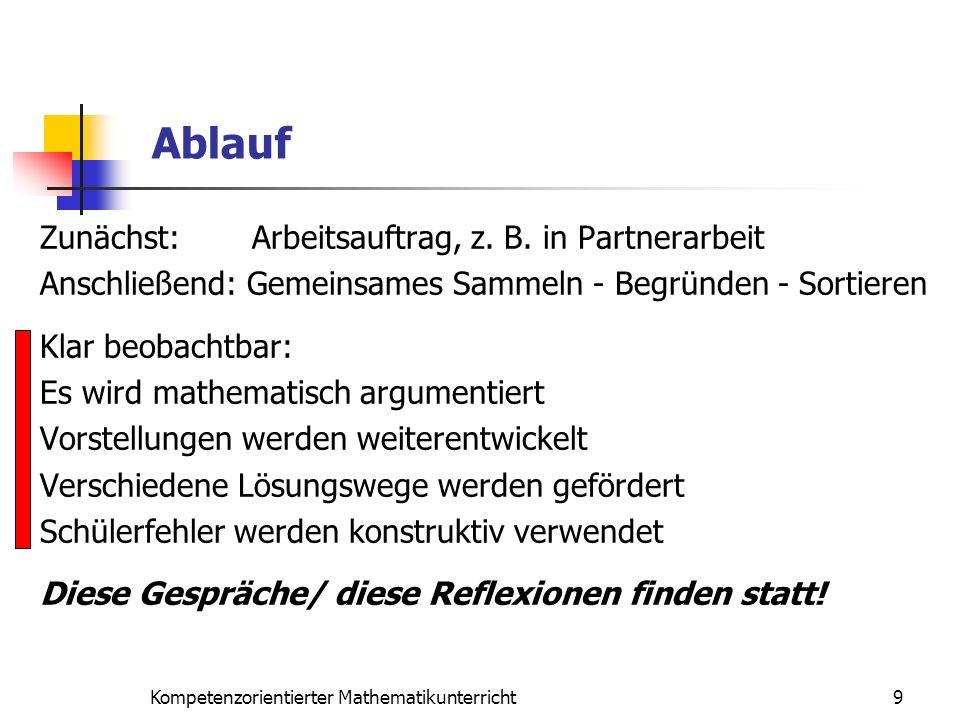 Zunächst: Arbeitsauftrag, z. B. in Partnerarbeit Anschließend: Gemeinsames Sammeln - Begründen - Sortieren Klar beobachtbar: Es wird mathematisch argu