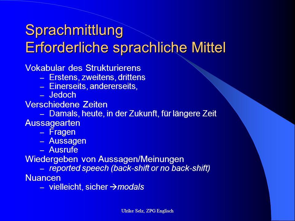 Sprachmittlung Erforderliche sprachliche Mittel Vokabular des Strukturierens – Erstens, zweitens, drittens – Einerseits, andererseits, – Jedoch Versch