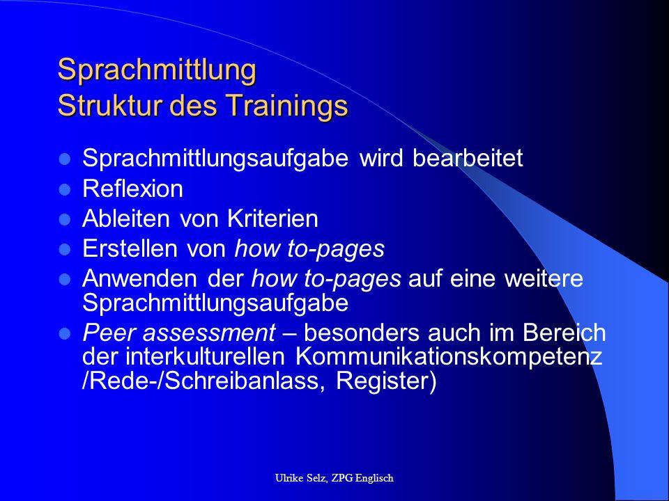 Sprachmittlung Struktur des Trainings Sprachmittlungsaufgabe wird bearbeitet Reflexion Ableiten von Kriterien Erstellen von how to-pages Anwenden der