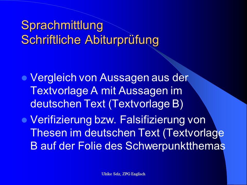 Sprachmittlung Möglichkeiten des Andockens Writing: summary structuring purpose register Speaking: purpose agreeing, disagreeing register Ulrike Selz, ZPG Englisch