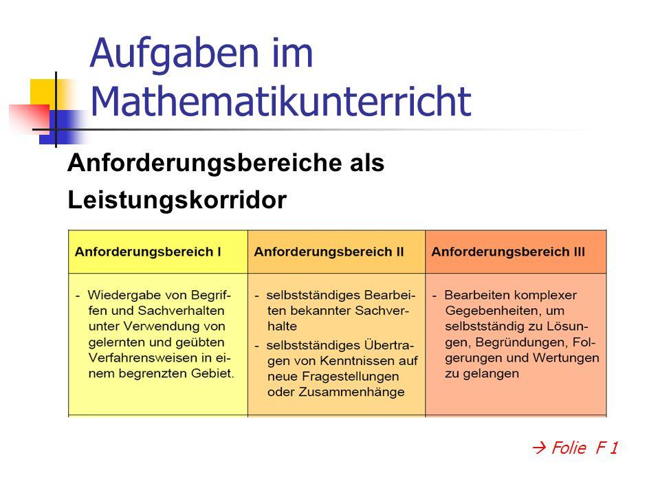 Anforderungsbereiche als Leistungskorridor Aufgaben im Mathematikunterricht Folie F 1