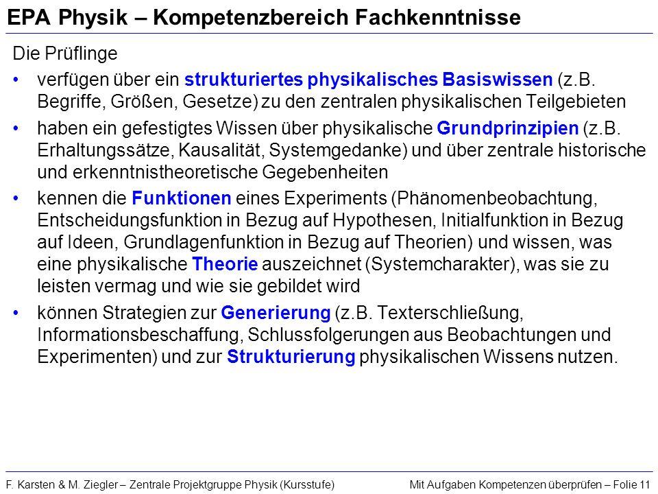 Mit Aufgaben Kompetenzen überprüfen – Folie 11F. Karsten & M. Ziegler – Zentrale Projektgruppe Physik (Kursstufe) EPA Physik – Kompetenzbereich Fachke