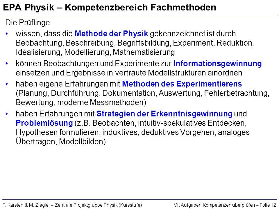 Mit Aufgaben Kompetenzen überprüfen – Folie 12F. Karsten & M. Ziegler – Zentrale Projektgruppe Physik (Kursstufe) EPA Physik – Kompetenzbereich Fachme