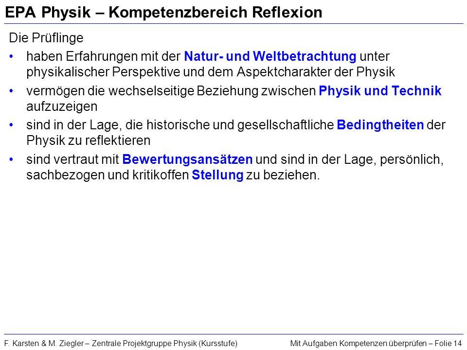 Mit Aufgaben Kompetenzen überprüfen – Folie 14F. Karsten & M. Ziegler – Zentrale Projektgruppe Physik (Kursstufe) EPA Physik – Kompetenzbereich Reflex