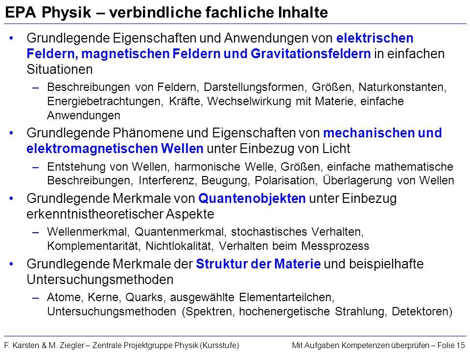 Mit Aufgaben Kompetenzen überprüfen – Folie 15F. Karsten & M. Ziegler – Zentrale Projektgruppe Physik (Kursstufe) EPA Physik – verbindliche fachliche