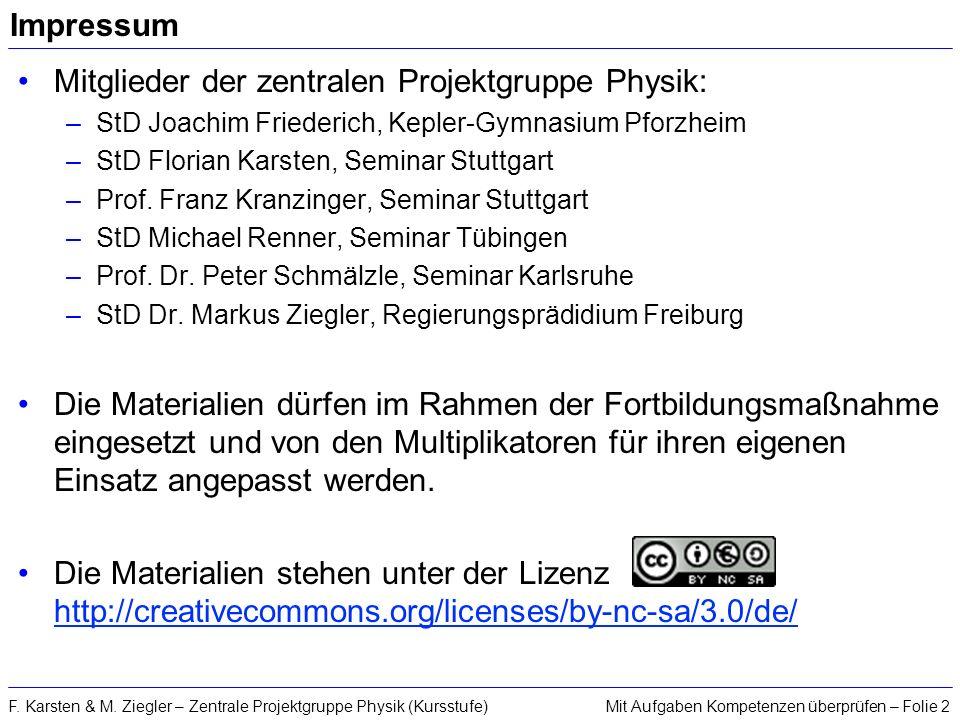 Mit Aufgaben Kompetenzen überprüfen – Folie 2F. Karsten & M. Ziegler – Zentrale Projektgruppe Physik (Kursstufe) Impressum Mitglieder der zentralen Pr