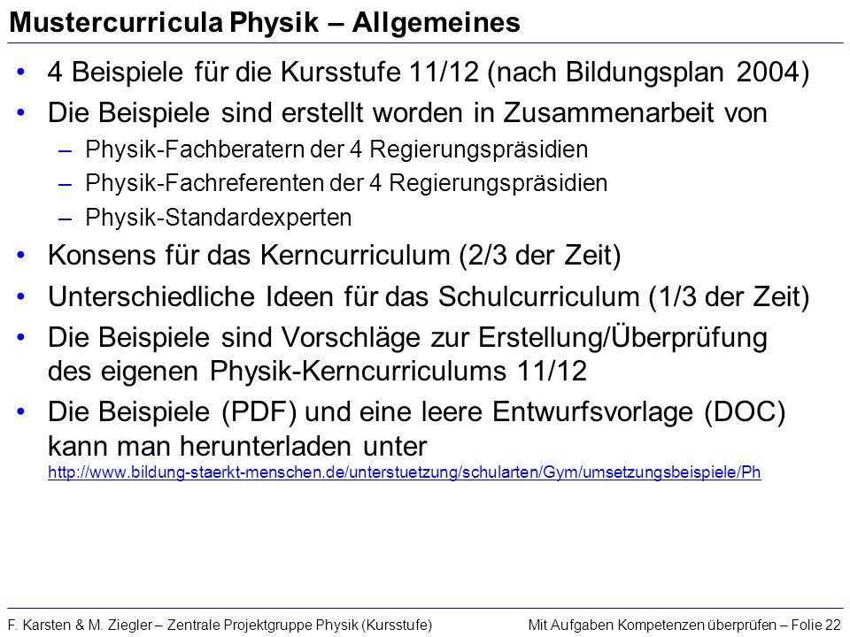 Mit Aufgaben Kompetenzen überprüfen – Folie 22F. Karsten & M. Ziegler – Zentrale Projektgruppe Physik (Kursstufe) Mustercurricula Physik – Allgemeines