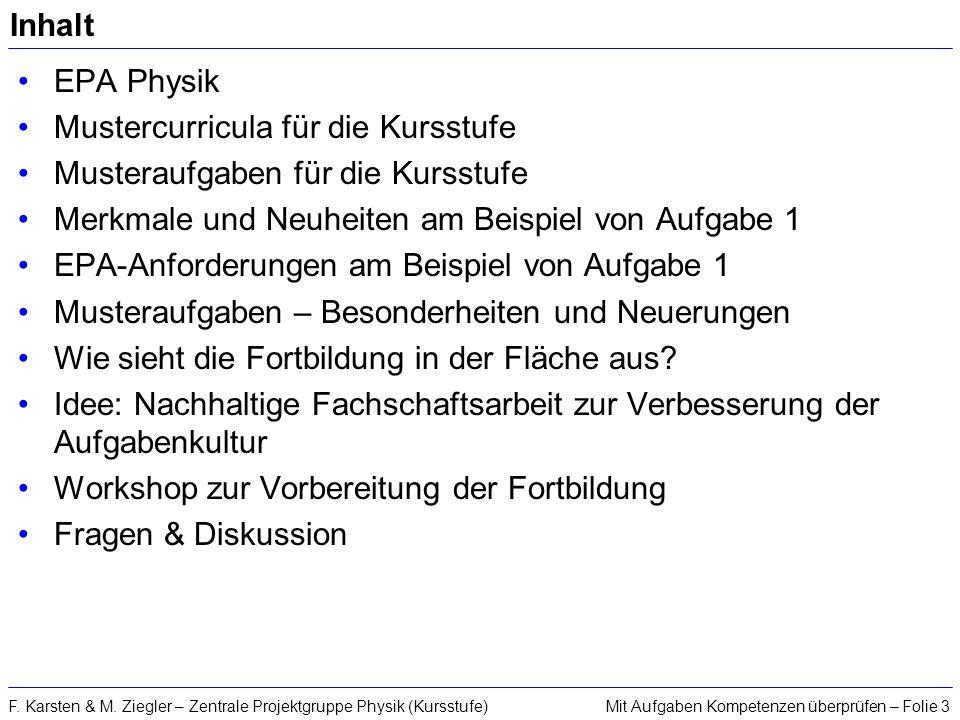Mit Aufgaben Kompetenzen überprüfen – Folie 3F. Karsten & M. Ziegler – Zentrale Projektgruppe Physik (Kursstufe) Inhalt EPA Physik Mustercurricula für
