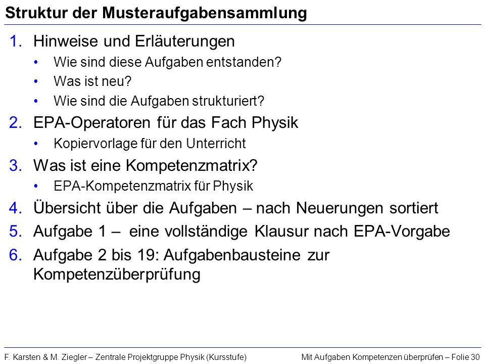 Mit Aufgaben Kompetenzen überprüfen – Folie 30F. Karsten & M. Ziegler – Zentrale Projektgruppe Physik (Kursstufe) Struktur der Musteraufgabensammlung