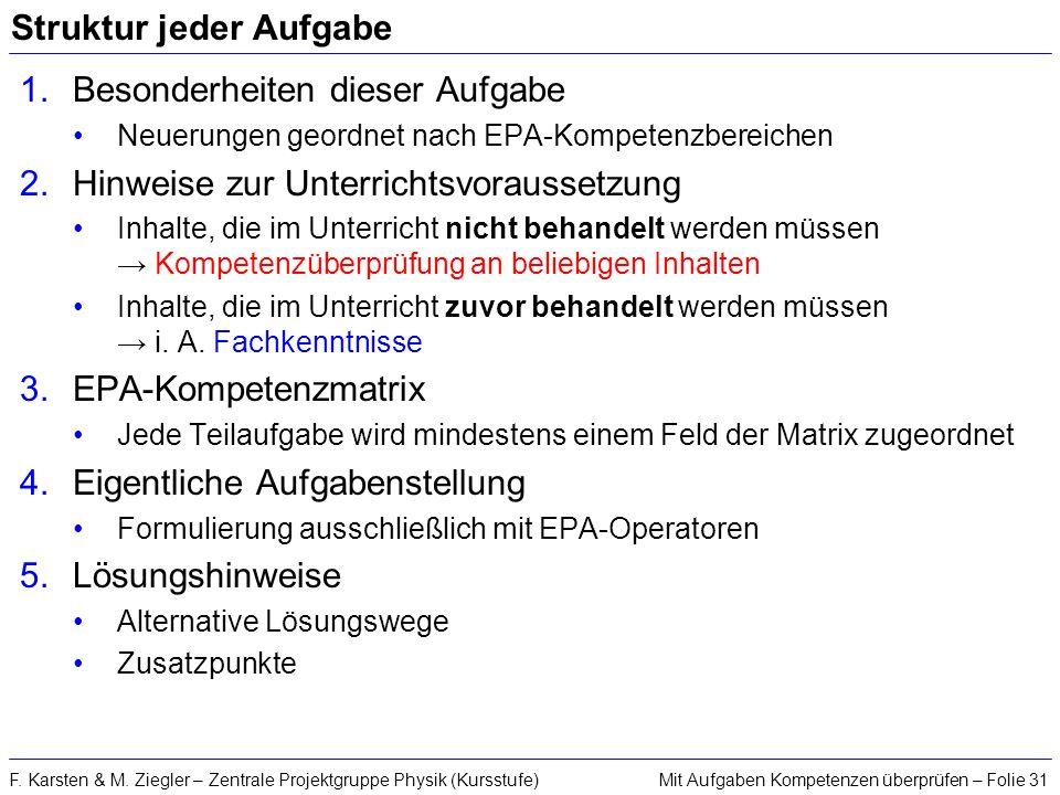 Mit Aufgaben Kompetenzen überprüfen – Folie 31F. Karsten & M. Ziegler – Zentrale Projektgruppe Physik (Kursstufe) Struktur jeder Aufgabe 1.Besonderhei