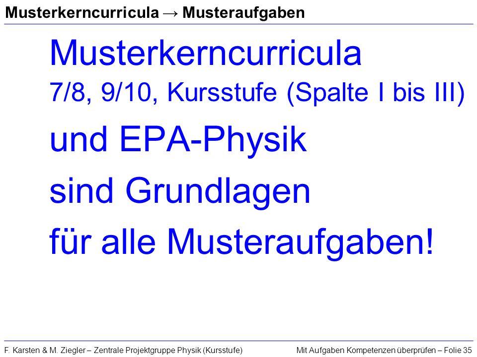 Mit Aufgaben Kompetenzen überprüfen – Folie 35F. Karsten & M. Ziegler – Zentrale Projektgruppe Physik (Kursstufe) Musterkerncurricula Musteraufgaben M