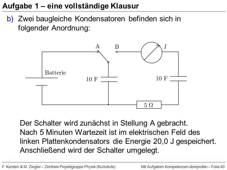 Mit Aufgaben Kompetenzen überprüfen – Folie 40F. Karsten & M. Ziegler – Zentrale Projektgruppe Physik (Kursstufe) Aufgabe 1 – eine vollständige Klausu