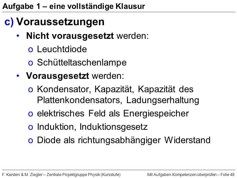 Mit Aufgaben Kompetenzen überprüfen – Folie 48F. Karsten & M. Ziegler – Zentrale Projektgruppe Physik (Kursstufe) Aufgabe 1 – eine vollständige Klausu