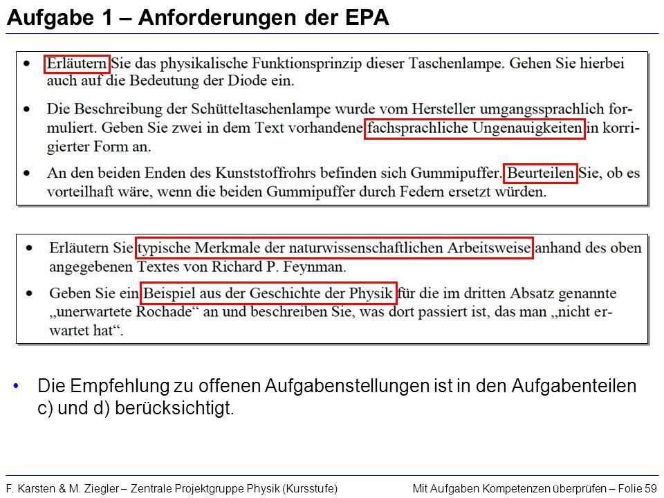 Mit Aufgaben Kompetenzen überprüfen – Folie 59F. Karsten & M. Ziegler – Zentrale Projektgruppe Physik (Kursstufe) Aufgabe 1 – Anforderungen der EPA Di
