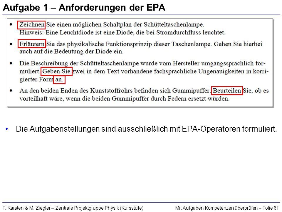 Mit Aufgaben Kompetenzen überprüfen – Folie 61F. Karsten & M. Ziegler – Zentrale Projektgruppe Physik (Kursstufe) Aufgabe 1 – Anforderungen der EPA Di