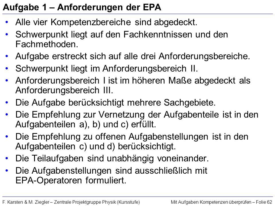 Mit Aufgaben Kompetenzen überprüfen – Folie 62F. Karsten & M. Ziegler – Zentrale Projektgruppe Physik (Kursstufe) Aufgabe 1 – Anforderungen der EPA Al