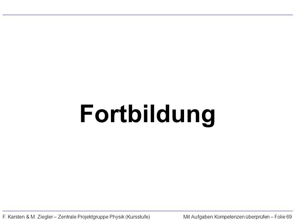 Mit Aufgaben Kompetenzen überprüfen – Folie 69F. Karsten & M. Ziegler – Zentrale Projektgruppe Physik (Kursstufe) Fortbildung