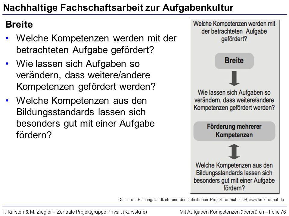 Mit Aufgaben Kompetenzen überprüfen – Folie 76F. Karsten & M. Ziegler – Zentrale Projektgruppe Physik (Kursstufe) Nachhaltige Fachschaftsarbeit zur Au