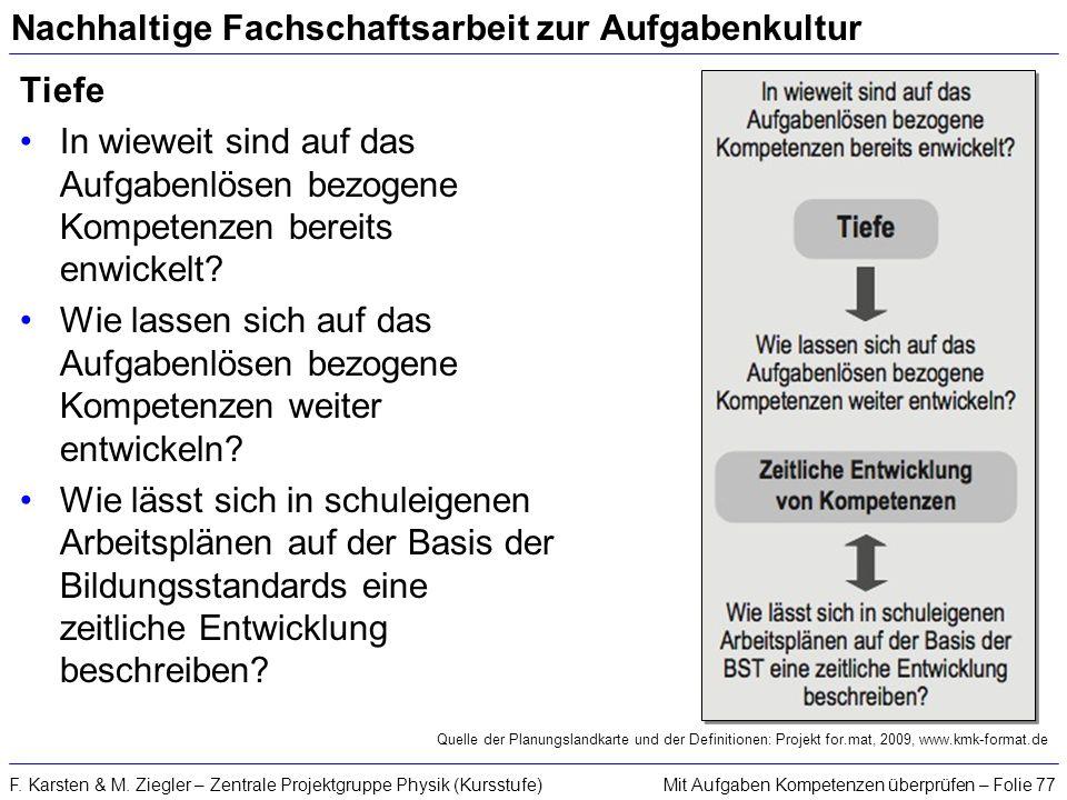 Mit Aufgaben Kompetenzen überprüfen – Folie 77F. Karsten & M. Ziegler – Zentrale Projektgruppe Physik (Kursstufe) Nachhaltige Fachschaftsarbeit zur Au