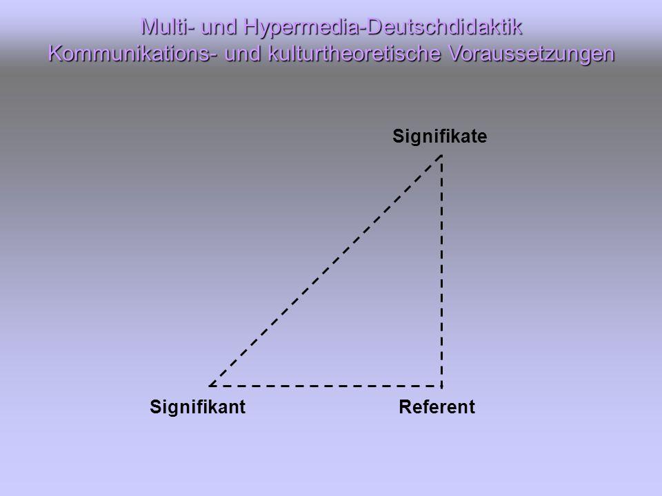 Signifikant Signifikate Referent Multi- und Hypermedia-Deutschdidaktik Kommunikations- und kulturtheoretische Voraussetzungen