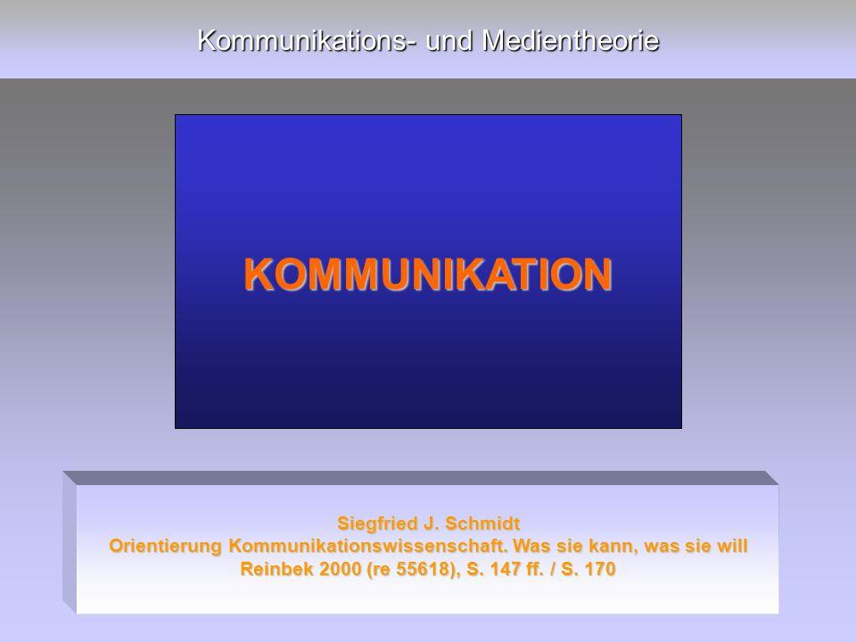 Kommunikations- und Medientheorie KOMMUNIKATION Siegfried J.