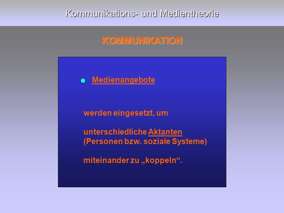 Kommunikations- und Medientheorie KOMMUNIKATION werden eingesetzt, um unterschiedliche Aktanten (Personen bzw.