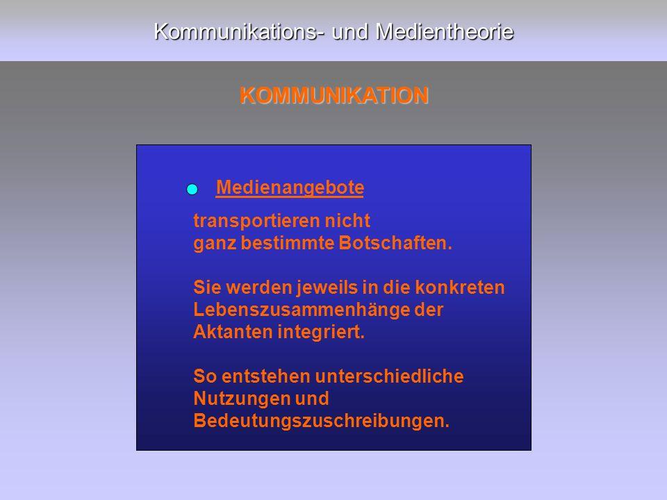 Kommunikations- und Medientheorie KOMMUNIKATION transportieren nicht ganz bestimmte Botschaften.