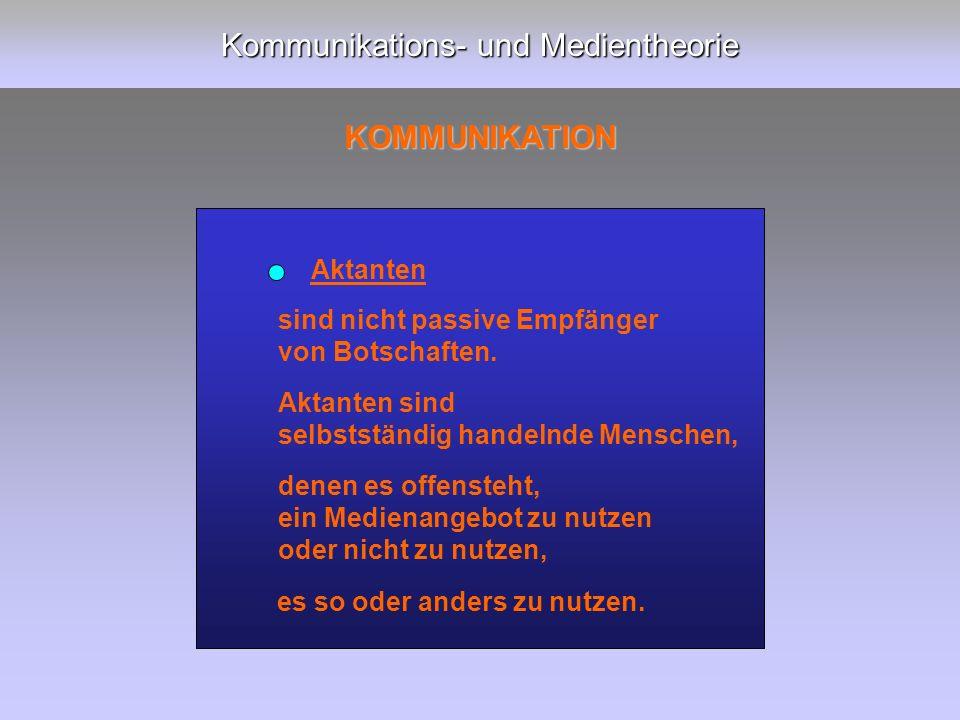 Kommunikations- und Medientheorie KOMMUNIKATION sind nicht passive Empfänger von Botschaften.