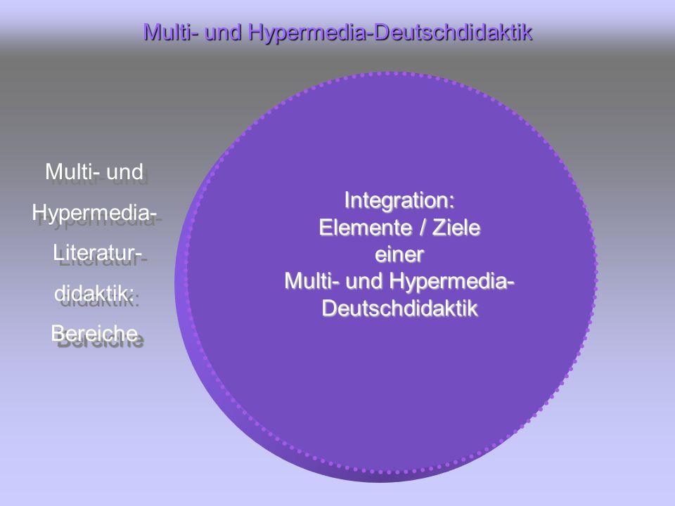 Multi- und Hypermedia-Deutschdidaktik Multi- und Hypermedia- Literatur- didaktik:Bereiche Multi- und Hypermedia- Literatur- didaktik:Bereiche Integration: Elemente / Ziele einer Multi- und Hypermedia- Deutschdidaktik