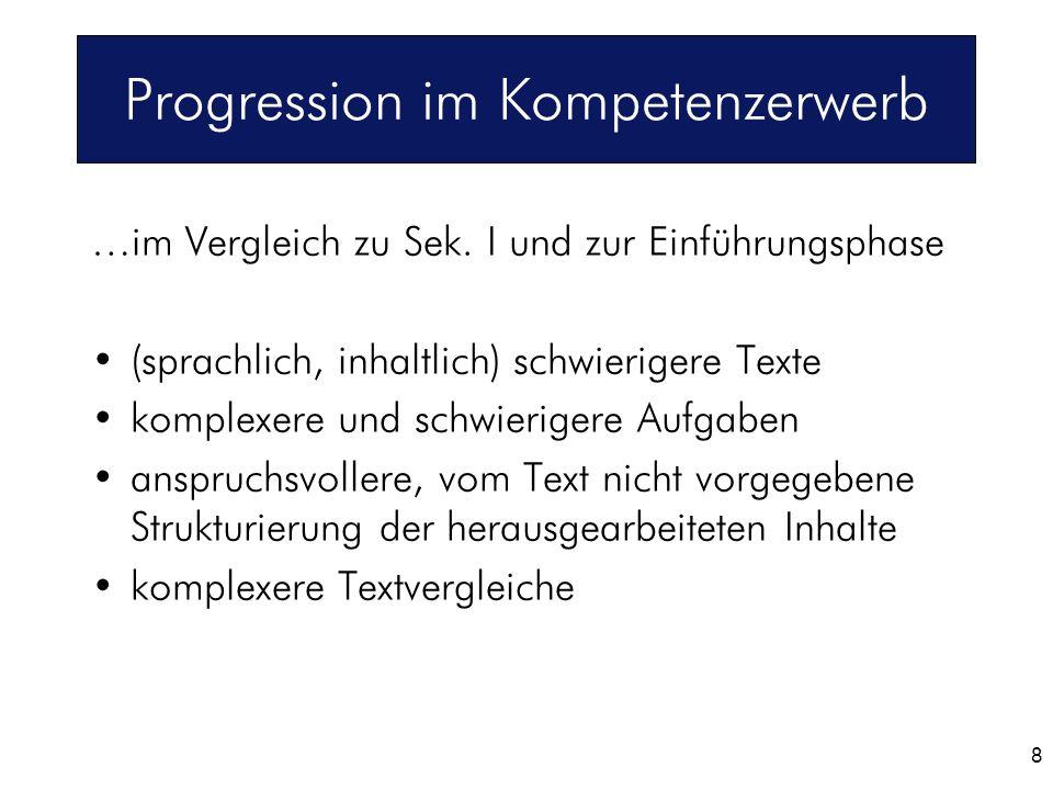8 Progression im Kompetenzerwerb …im Vergleich zu Sek. I und zur Einführungsphase (sprachlich, inhaltlich) schwierigere Texte komplexere und schwierig