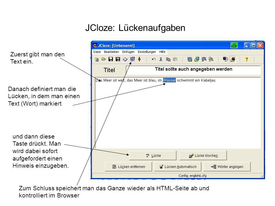 JCloze: Lückenaufgaben Zuerst gibt man den Text ein. und dann diese Taste drückt. Man wird dabei sofort aufgefordert einen Hinweis einzugeben. Danach